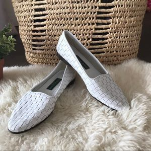 Cole Haan White weaved leather loafer
